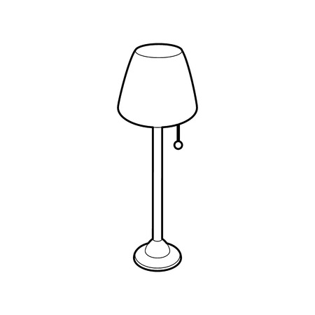 lamp outline: Long floor lamp icon in outline style isolated on white background. Illumination symbol Illustration