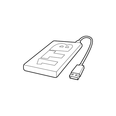 external: External hard drive 1tb icon in outline style isolated on white background. Memory symbol