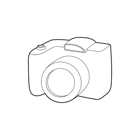 slr camera: SLR camera icon in outline style isolated on white background. Photography symbol