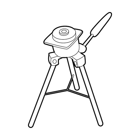 photography equipment: Tripod for camera icon in outline style isolated on white background. Shooting symbol