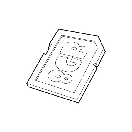 gigabyte: Memory card 8 gb icon in outline style isolated on white background. Storage symbol