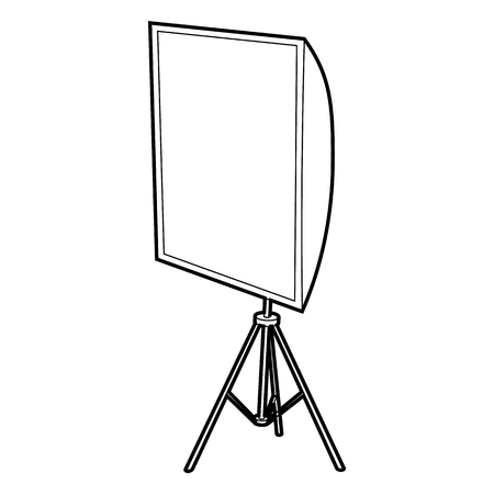 lighting technique: Softbox icon in outline style isolated on white background. Photography symbol
