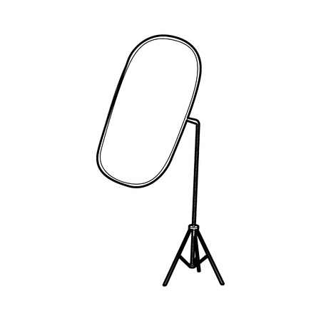 reflector: Reflector for photography icon in outline style isolated on white background. Shooting symbol Illustration