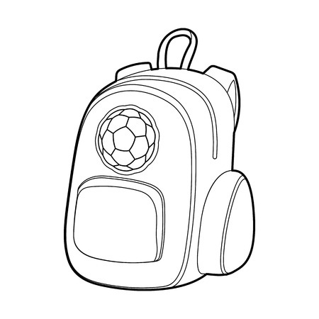 School backpack icon in outline style isolated on white background. Bag symbol