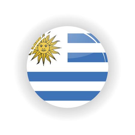 bandera de uruguay: Uruguay icono de círculo aislado sobre fondo blanco. Icono de la ilustración vectorial Montevideo