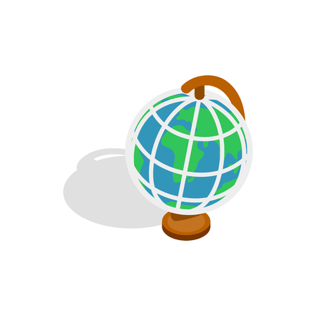 terrestrial: Terrestrial globe icon in isometric 3d style on a white background