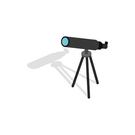 Telescope icon in isometric 3d style on a white background