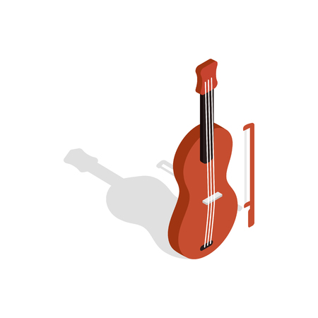 fiddlestick: Violin icon in isometric 3d style on a white background Illustration