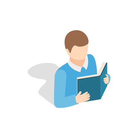 Student reading a book icon in isometric 3d style on a white background
