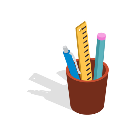 Stationery in brown cup icon in isometric 3d style on a white background