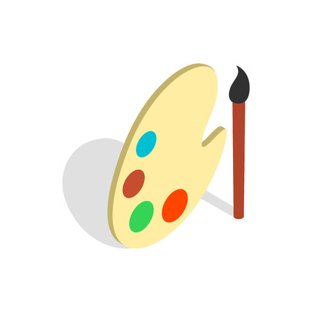 Art palette with paints and brush icon in isometric 3d style on a white background