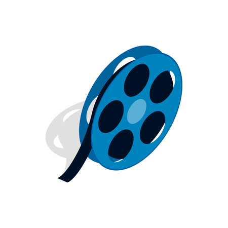 Film reel icon in isometric 3d style on a white background Illustration