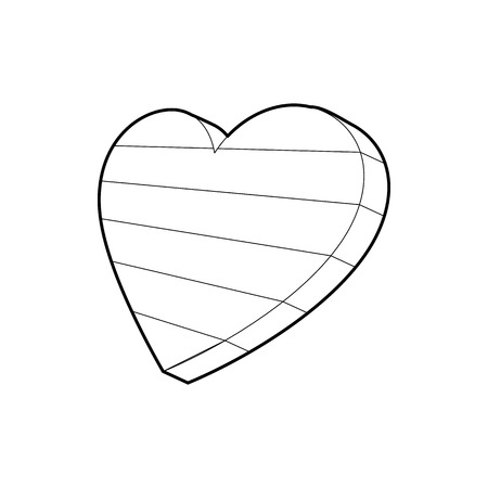 sexuality: LGBT heart symbol icon in outline style isolated on white background Illustration