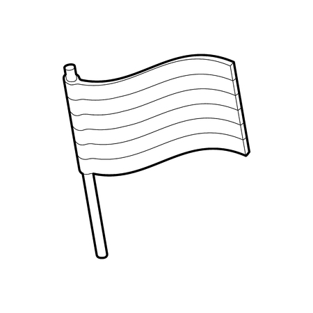 asexual: LGBT pride flag icon in outline style isolated on white background Illustration
