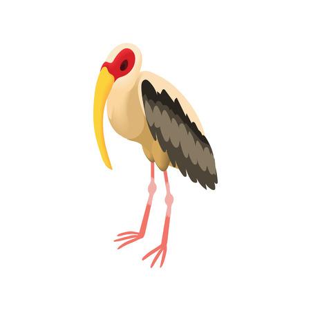 Stork icon in cartoon style isolated on white background. Migratory bird symbol Illustration