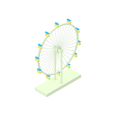 Ferris wheel icon in cartoon style isolated on white background. Entertainment symbol