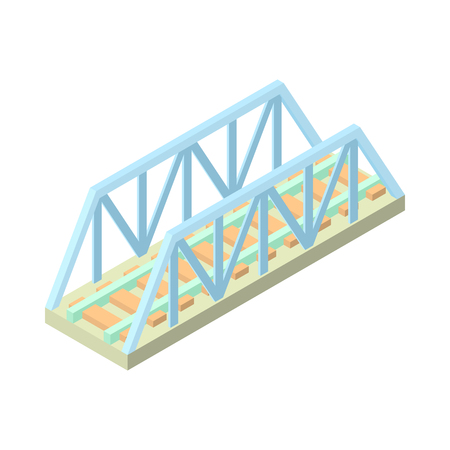 crossing street: Railway bridge icon in cartoon style isolated on white background. Architecture symbol