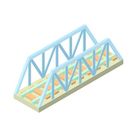 Railway bridge icon in cartoon style isolated on white background. Architecture symbol
