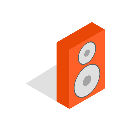 Orange speaker icon in isometric 3d style on a white background Illustration
