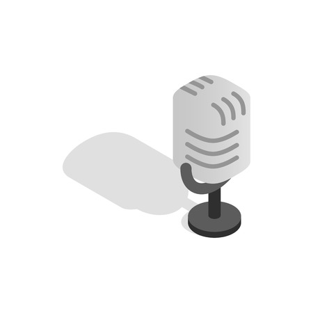 Retro microphone icon in isometric 3d style on a white background