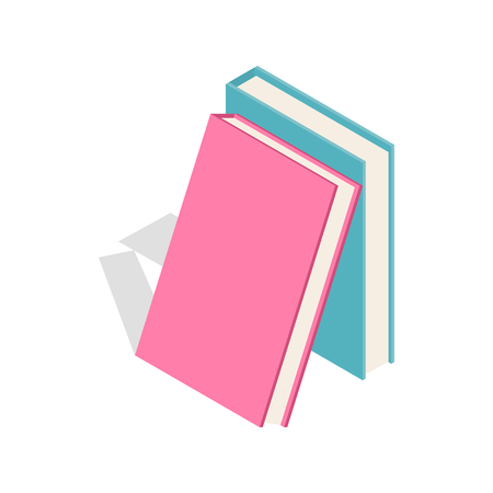 Two books icon in isometric 3d style on a white background Illustration