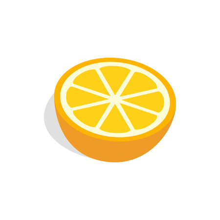 Half of orange icon in isometric 3d style on a white background Illustration