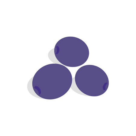 prune: Blue plum icon in isometric 3d style on a white background