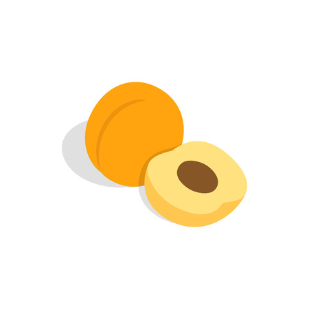 Fresh apricot fruits icon in isometric 3d style on a white background Illustration