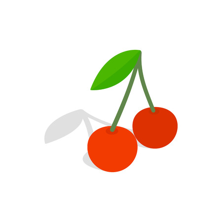 glace: Two cherries with the leaf icon in isometric 3d style on a white background Illustration
