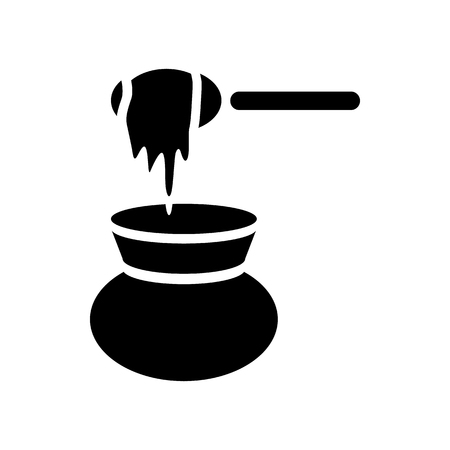 dipper: Honey dipper and jug icon in simple style on a white background Illustration