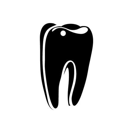 carious cavity: Tooth icon in simple style on a white background