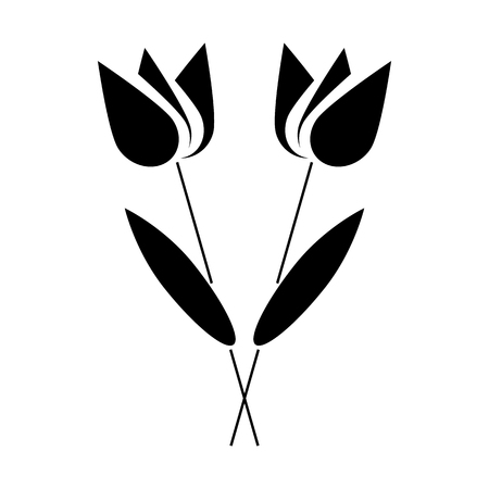 graves: Two flowers icon in simple style on a white background