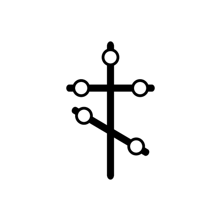 churchyard: Orthodox cross icon in simple style on a white background