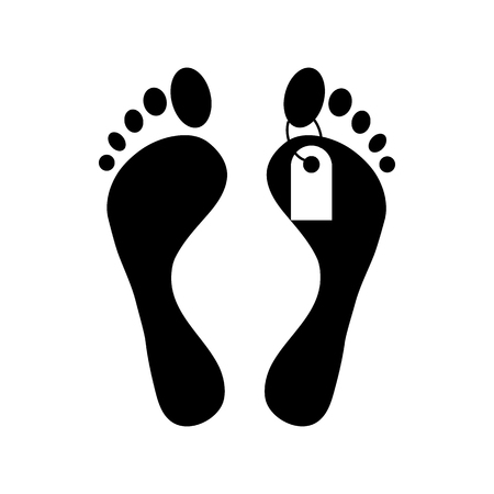 toe tag: Human feet with toe tag icon in simple style on a white background Illustration