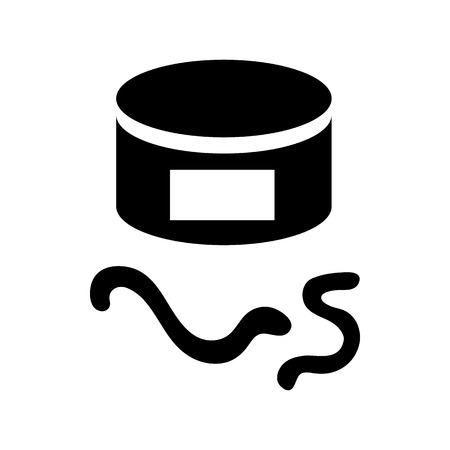 compost: Tin of earthworms icon in simple style on a white background