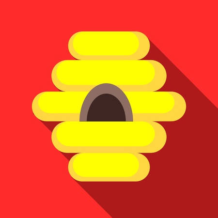 bee house: Bee house icon in flat style with long shadow. Insects symbol Illustration