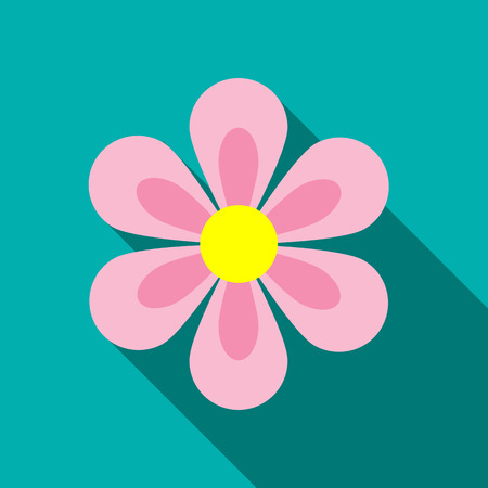 fragrant bouquet: Flower icon in flat style with long shadow. Flora symbol
