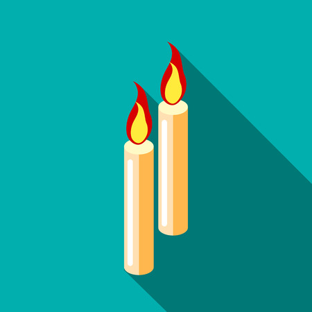 Two candles icon in flat style with long shadow. Death symbol Illustration