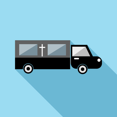 hearse: Hearse icon in flat style with long shadow. Transport symbol