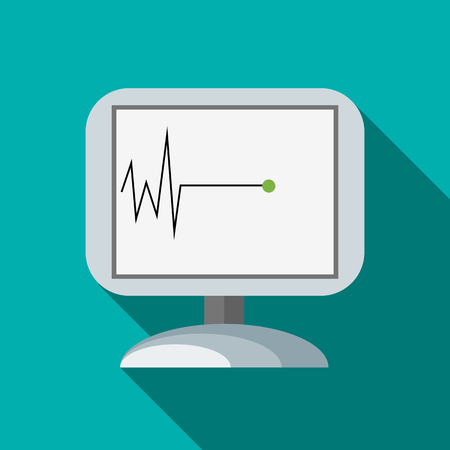 arrest: Monitor recorded cardiac arrest icon in flat style with long shadow. Death symbol Illustration