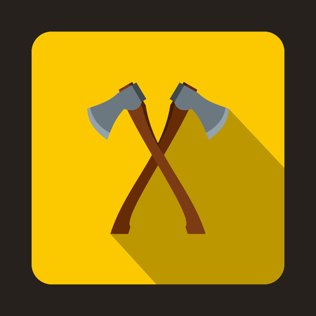 2 axe icon in flat style with long shadow. Equipment symbol
