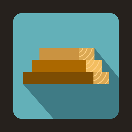 felling: Wooden boards icon in flat style with long shadow. Felling symbol