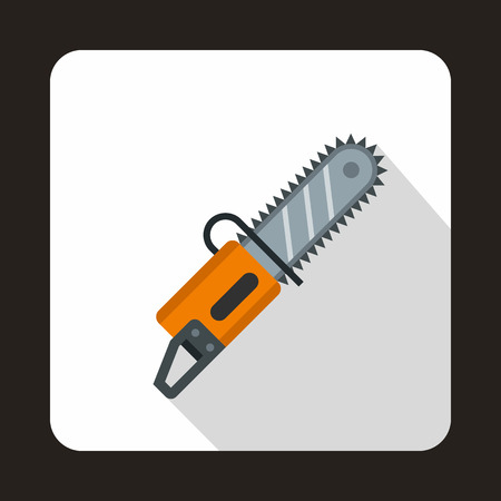 Chainsaw icon in flat style with long shadow. Saw symbol