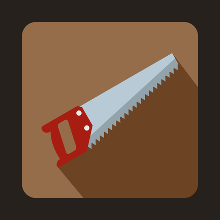 logging: Wood saw icon in flat style with long shadow. Tools symbol