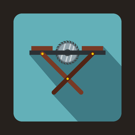 movable: Movable circular saw icon in flat style with long shadow. Tools symbol