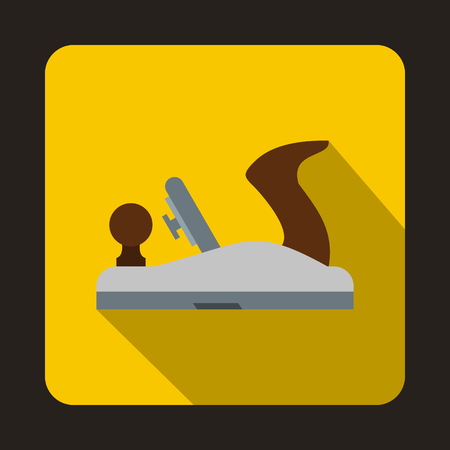 planer: Planer on wood icon in flat style with long shadow. Tool symbol
