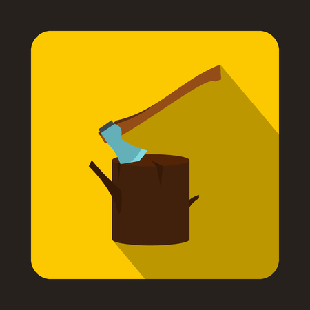 felling: Stump with axe icon in flat style with long shadow. Felling symbol