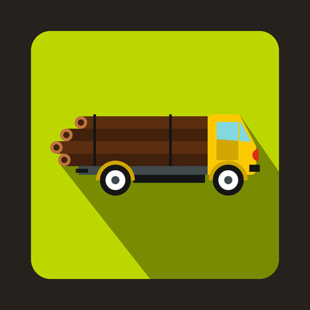 Logging truck logs icon in flat style with long shadow. Felling symbol Illustration