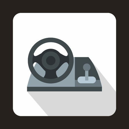gaming: Gaming steering wheel icon in flat style with long shadow. Play symbol