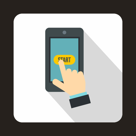 start button: Hand presses on start button in smartphone icon in flat style with long shadow. Gadget symbol Illustration